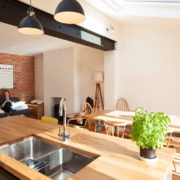 Casual seating and kitchen