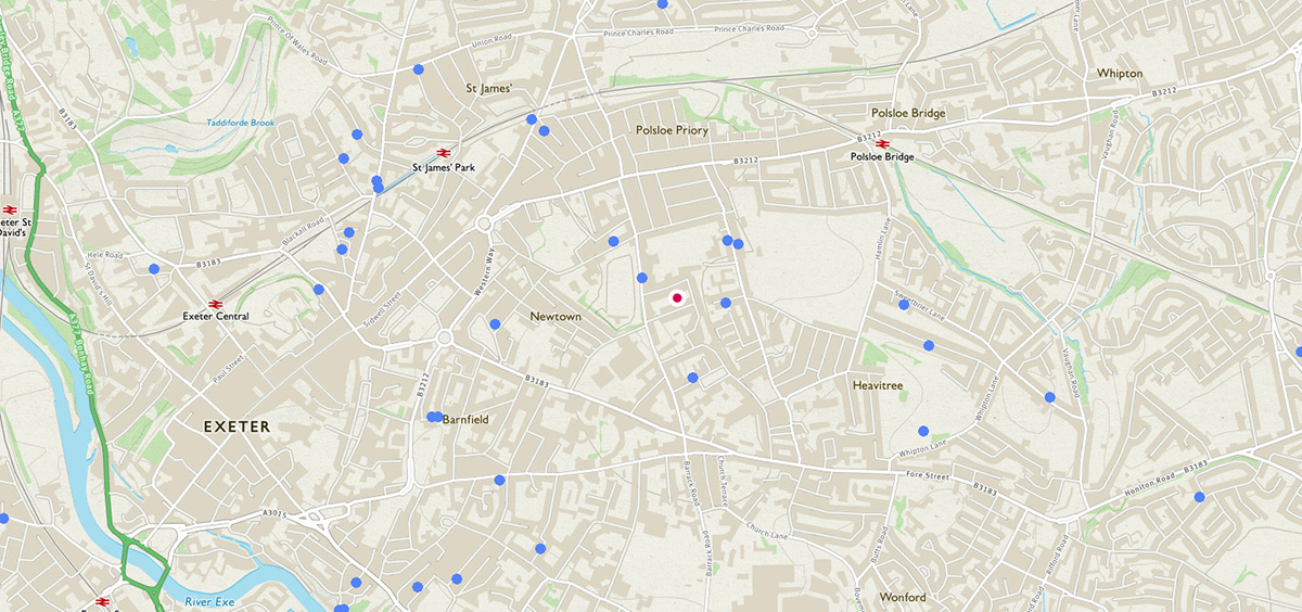 Map of local architect with nearby projects